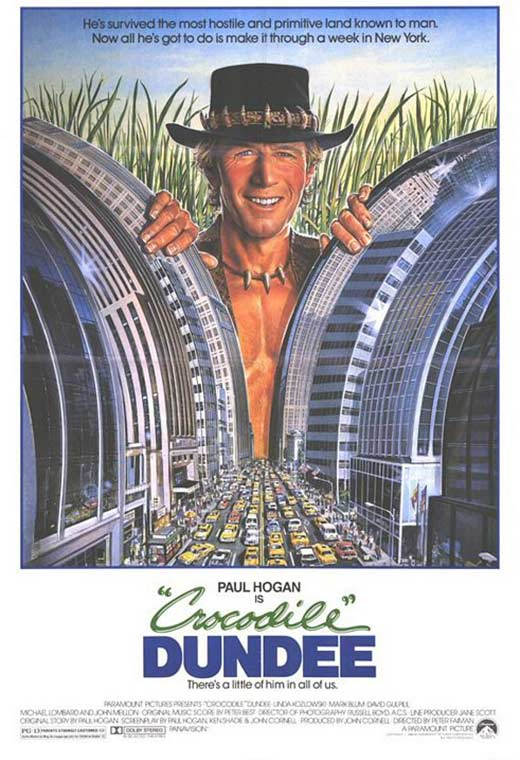A man in a cowboy hat and leather vest pulls back the skyscrapers of NY like they are branches of trees.