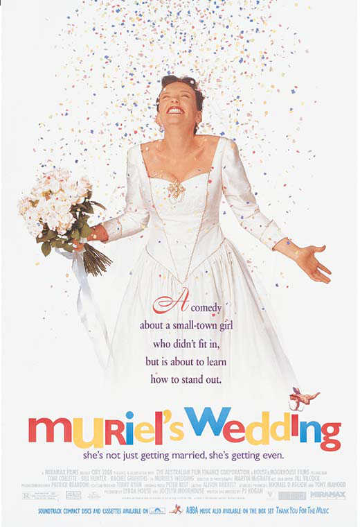 Poster for the film Muriel's Wedding with a woman in a wedding dress excitedly standing under a showering of confetti.