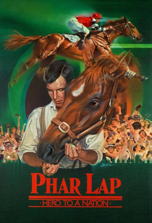 Poster for the film Phar Lap with a man feeding a horse who has it's head over his shoulder.