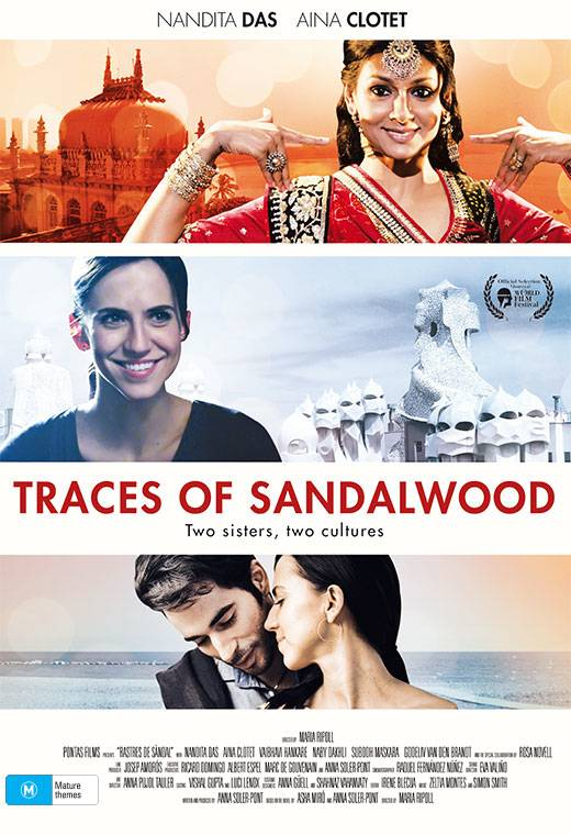 The poster for the film Traces of Sandalwood with a woman in Indian dress at the top, a younger Indian woman in modern dress in the middle and the younger woman and a man in the bottom third.