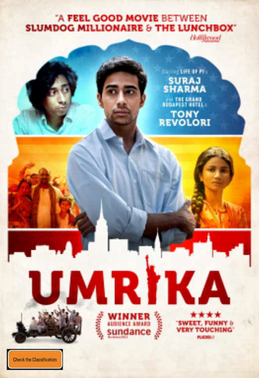 Umrika poster with man in the centre and two people next to him.