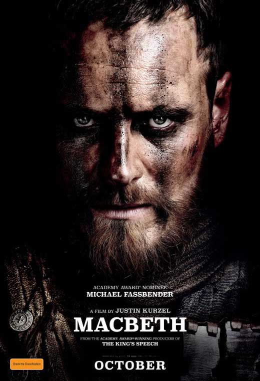 Film poster for Macbeth showing a man in armour and war paint