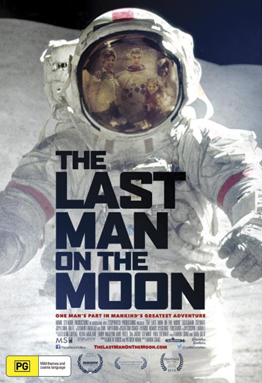 The cover of the DVD of the film The Last Man on the Moon showing a man in a space suit on the moon.